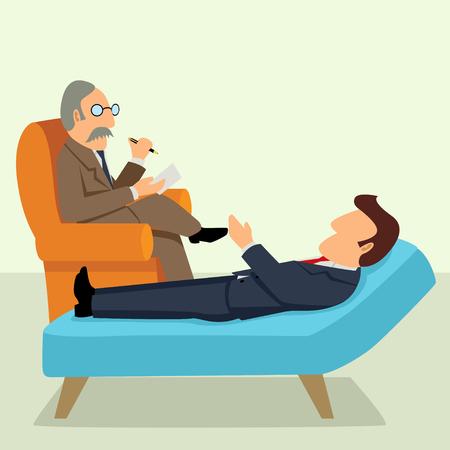 Eenvoudige cartoon van een zakenman met een therapie met een psycholoog