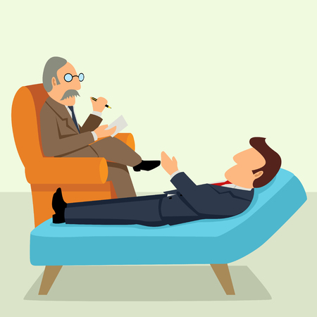 psychologist: Simple cartoon of a businessman having a therapy with psychologist