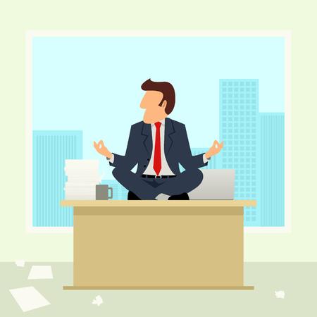 zen attitude: bande dessinée simple d'un homme d'affaires médite sur table. Gestion de la colère, se détendre, se ressourcer, thème repos
