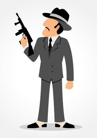 hitman: Simple cartoon of a man holding a tommy gun. Mafia, mobster and gangster theme Illustration