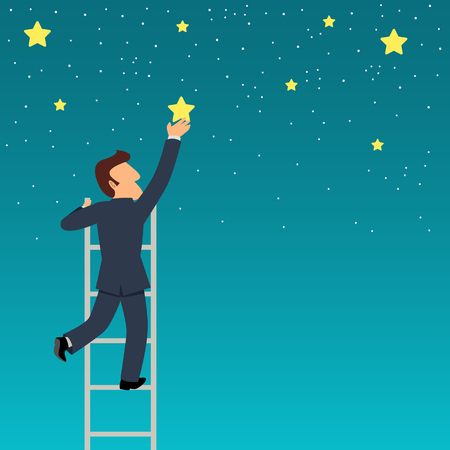 Simple cartoon of a businessman reach out for the stars Illustration