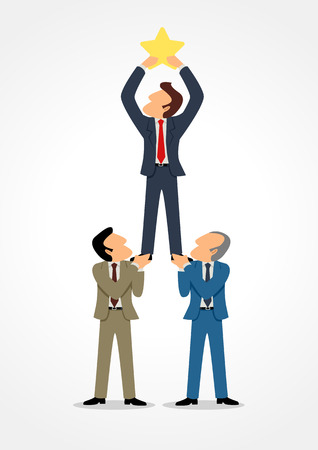 Simple cartoon of three businessmen help each other to reach the star, for success, teamwork, dream team concept