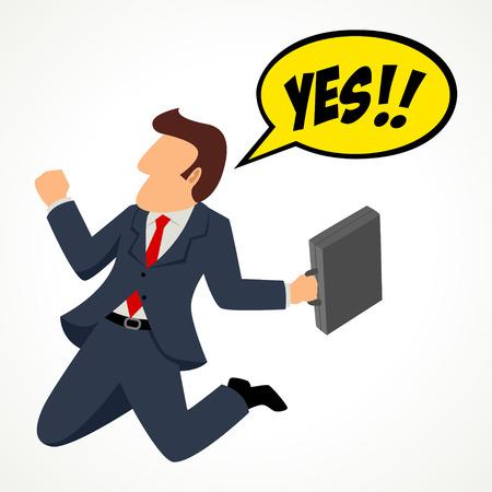 Simple cartoon of a businessman celebrating his success