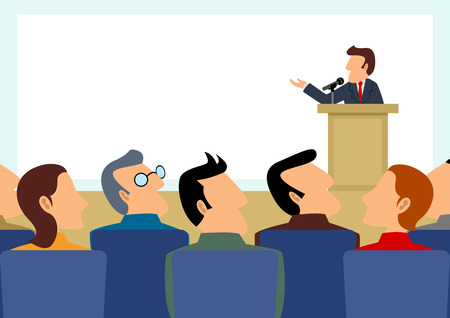 Simple cartoon of man figure giving a speech on stage with blank big screen as the background