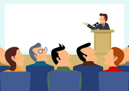simple caricatura de la figura del hombre, dando un discurso en el escenario con gran pantalla en blanco como el fondo Ilustración de vector