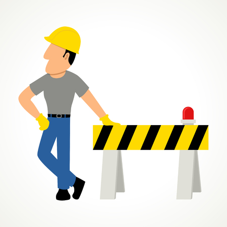 roadblock: Simple cartoon of a construction worker with roadblock Illustration