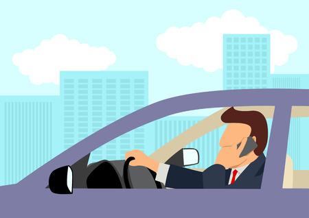 Eenvoudige cartoon van een zakenman met behulp van mobiele telefoon tijdens het besturen van een auto Vector Illustratie