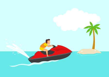Simple cartoon of a man on a jet ski, summer holiday, tropical beach, vacation, leisure, concept