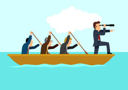 Simple cartoon of businessmen rowing the boat, teamwork, success, leadership concept Vectores