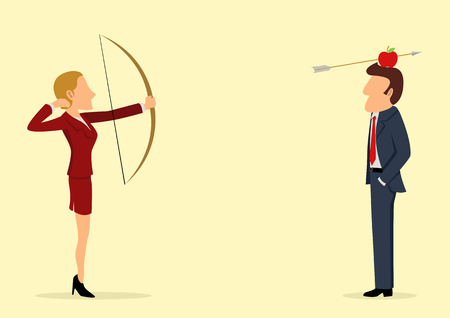 archer cartoon: Simple cartoon of an archer woman shooting an apple on mans head
