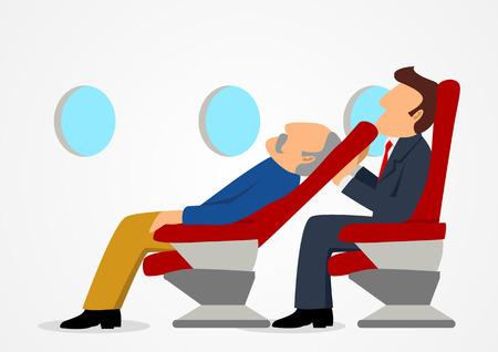 비행기에 잠자는 늙은 남자의 자에 [NULL]에 대해 불편한 앉아 승객의 간단한 만화 일러스트