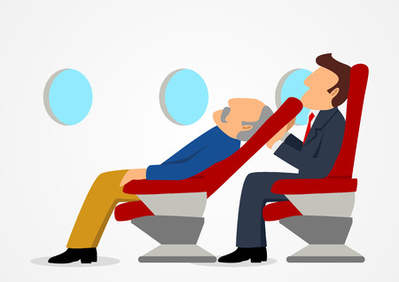 Simple cartoon of passenger sitting uncomfortable against a sleeping old mans chair on an airplane