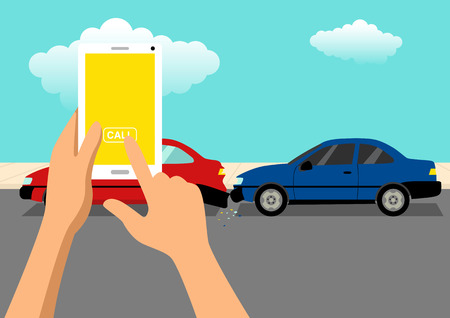 Simple cartoon of hand ready to call using a cellular phone after car accident Illustration