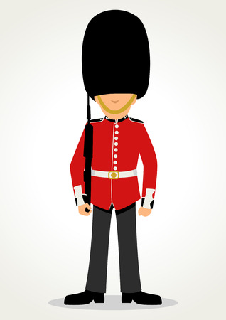 Simple cartoon of a Queens Guard in traditional uniform, British soldier isolated on white