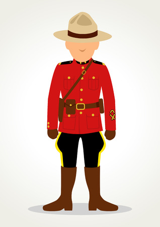 Simple cartoon of Royal Canadian Mounted Police isolated on white Ilustração