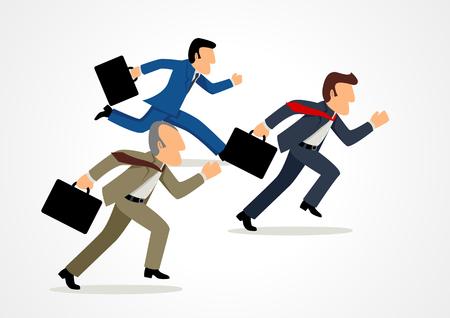 deportes caricatura: simple caricatura de empresarios de carreras, el concepto de competencia, determinación, liderazgo en los negocios
