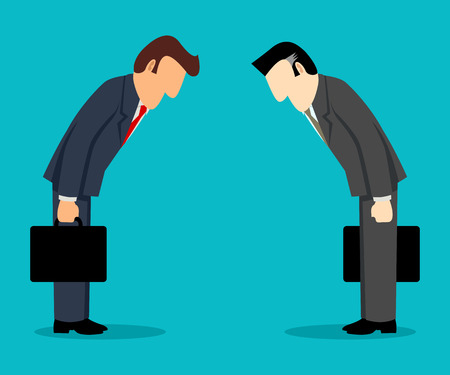 Simple cartoon of two businessmen bowing each other, Japanese culture business concept Vectores