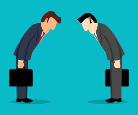 respetar: simple caricatura de dos empresarios inclinándose entre sí, concepto de negocio la cultura japonesa