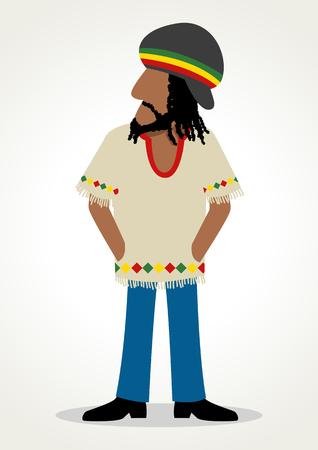 rasta hat: Simple cartoon of rastafarian with dreadlocks hairstyle