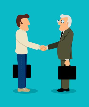 Simple cartoon of young businessman shake hand with senior businessman Illustration