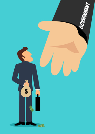 Simple cartoon illustration of a businessman hiding a money bag behind his back with giant hand symbolizes the government, concept for tax evasion, ripoff