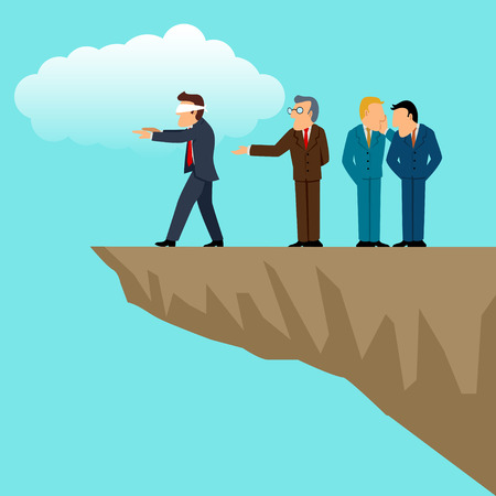 Simple cartoon of businessmen direct their blindfolded friend to the ravine, business, conspiracy, competition, competitor, concept