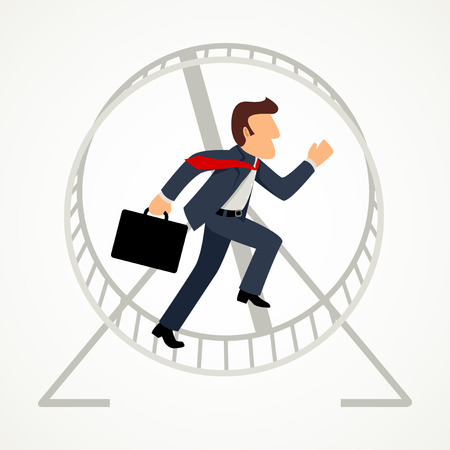 Simple cartoon of a businessman in hamster wheel, business, exploitation, trapped, exhausted, pressure concept Illustration