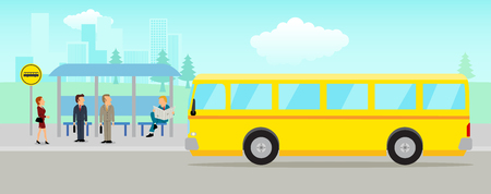 Simple cartoon of people waiting at the bus stop with cityscape as the background Stock Illustratie