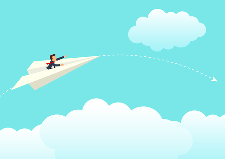 Simple cartoon of businessman on paper plane, business, vulnerability in business, temporary success concept Illustration