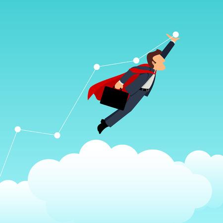 Simple cartoon of a superhero businessman pushing the graphic chart up, business, improvement, progress concept