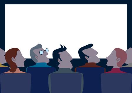 Simple cartoon of people in the cinema