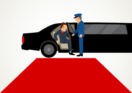 Simple cartoon of businessman getting out from limousine in front of the red carpet, business, success, vip concept 向量圖像