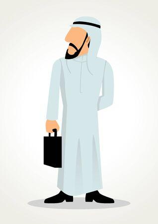 Simple cartoon of Emirati businessman carrying suitcase