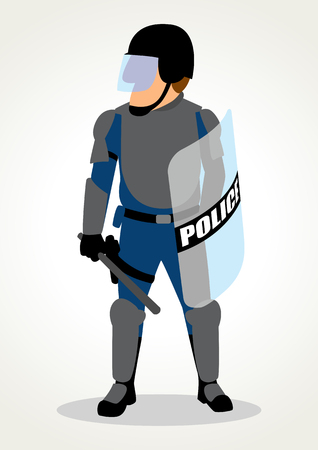 Simple cartoon of police officer wearing armored uniform for riot situation