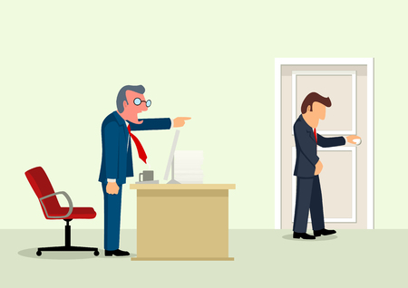 Simple cartoon of a boss chucked out his employee of his office, business, fired, angry boss concept
