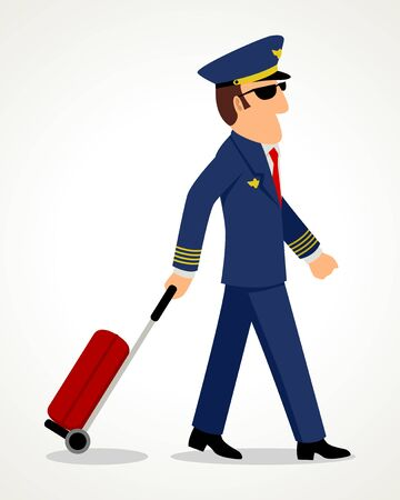 Simple cartoon of a pilot with luggage Illustration