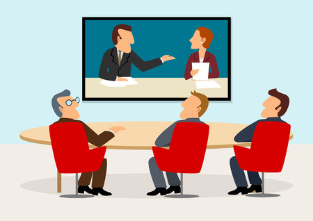 Simple cartoon of business people having a meeting on video conference