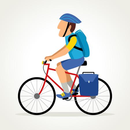 Simple cartoon of a bike messenger