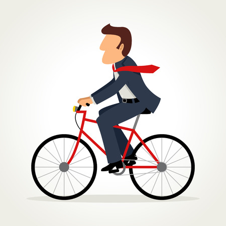 Simple cartoon of businessman riding a bicycle Illustration