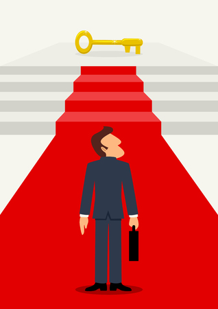 Simple cartoon of businessman on the red carpet leading to the golden key, business success, determination, achievement concept