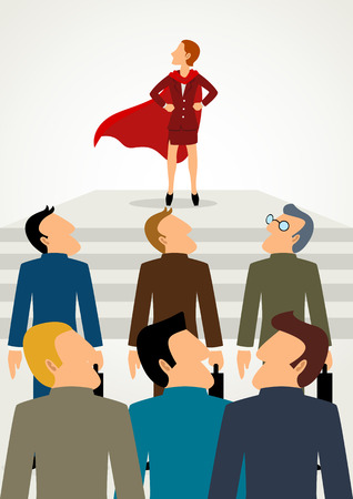 Simple cartoon of superhero businesswoman standing in front of his team, business, woman power, promotion, leader, leadership concept Illustration