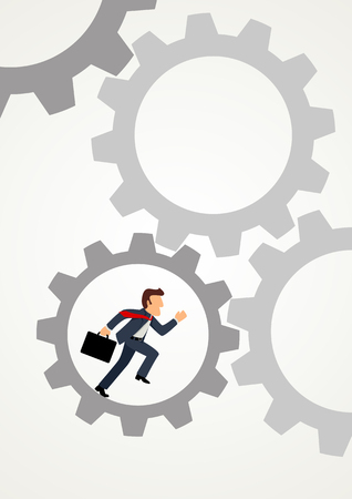 Simple cartoon of a businessman running inside gear, business, motivation, efficiency, business on the move concept Illustration