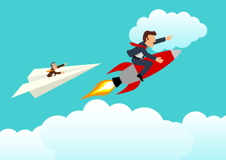 unmatched: Simple cartoon of young businessman on a rocket racing with older businessman on paper plane, unfair, competition, innovative concept Illustration