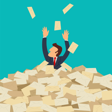 overload: Simple cartoon of businessman buried in letters, spam, message, email, junk mail concept Illustration