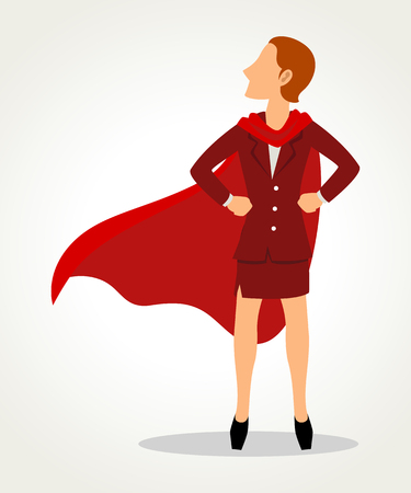 Simple cartoon of a businesswoman as a superhero, business, woman power, feminism concept