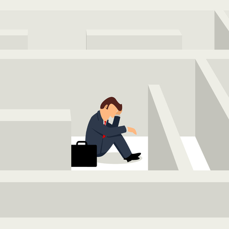 Simple cartoon of businessman sitting frustratedly in the maze, business, confuse, stress concept