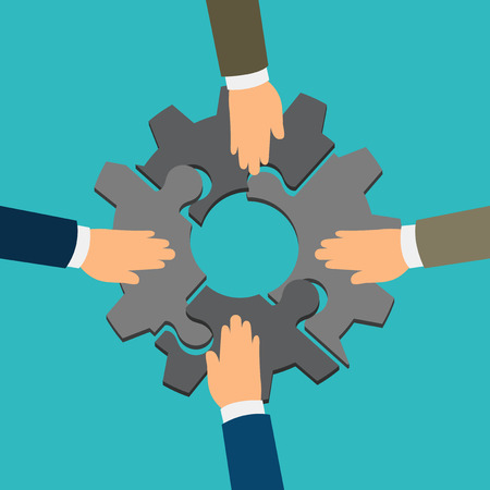 Simple cartoon of four businessmen hand assembling jigsaw puzzle that forming a gear, team work, support, business on the move, business project, business merger concept
