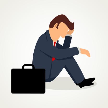 depress: Simple cartoon of frustrated businessman Illustration
