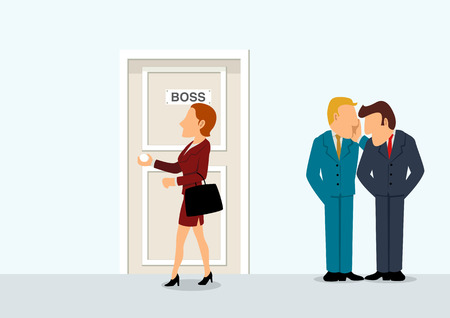 intrigue: Simple cartoon of two businessmen whispering when their boss passing, business intrigue, conspiracy, gossip, new boss, gender issue concept Illustration