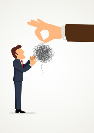 Simple cartoon of a hand giving tangled threads to a businessman, business, difficult task, challenge, problem solving concept 向量圖像